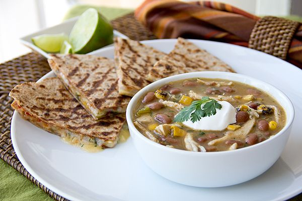 Chicken Chili with 3 cheese quesadillas - used 4 + cups chicken borth, added 1/2 cup salsa verde to recipe, and used mexican cheese blend for quesadillas. All in all, pretty awesome!
