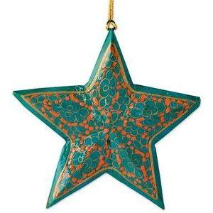 NOVICA ручной работы Деревянная звезда Рождественские украшения (набор из 4)