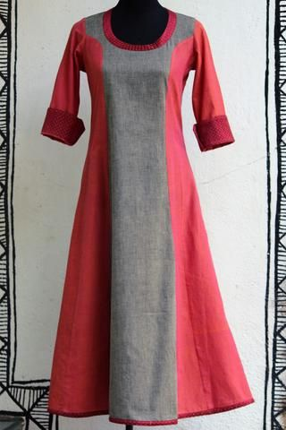 anarkali - pink+grey mangalgiri & mashroo