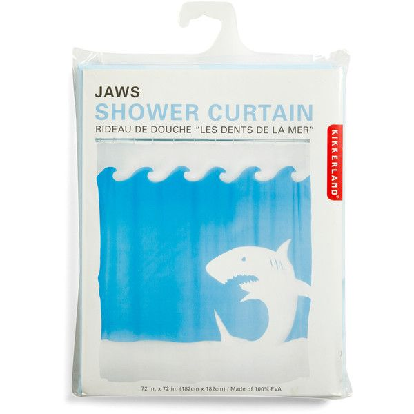 Kikkerland Nautical Jaw Dropping Shower Curtain (27 CAD) ❤ liked on Polyvore featuring home, bed & bath, bath, shower curtains, kikkerland, nautical themed shower curtains, nautical shower curtains, ocean shower curtains and blue shower curtains