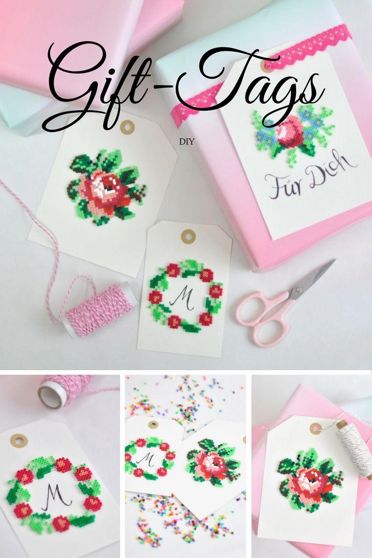DIY für Geschenkanhänger aus Bügelperlen. Eine zauberhafte Geschenkverpackung