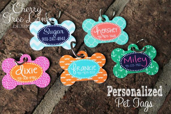 Personalized Dog Bone ID Tag - Monogram Your Pet - Dog Tag - Design Your Own - Made in USA on Etsy, $9.99
