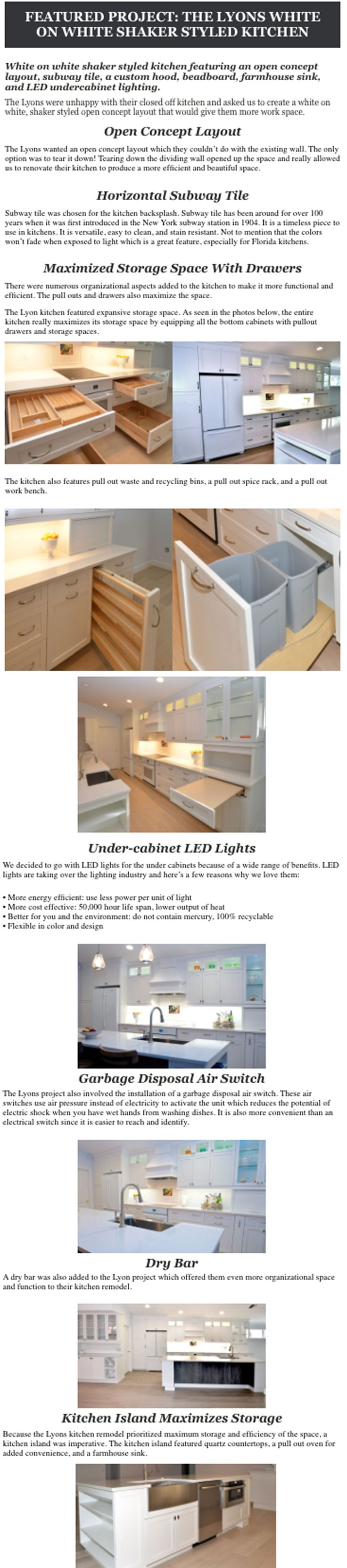 White on white shaker styled kitchen cabinets, custom hood, pull out work space, pull out drawers, wet bar, shaker styled cabinets, shaker, shaker style.