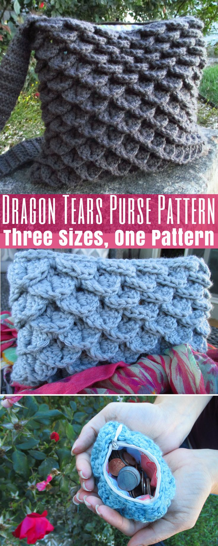 Dragon Tears 3-in-1 Purse Crochet Pattern: Coin Purse : Clutch : Full Size Purse http://hearthookhome.com/dragon-tears-3-in-1-purse-crochet-pattern/?utm_campaign=coschedule&utm_source=pinterest&utm_medium=Ashlea%20K%20-%20Heart%2C%20Hook%2C%20Home&utm_content=Dragon%20Tears%203-in-1%20Purse%20Crochet%20Pattern%3A%20Coin%20Purse%20%3A%20Clutch%20%3A%20Full%20Size%20Purse