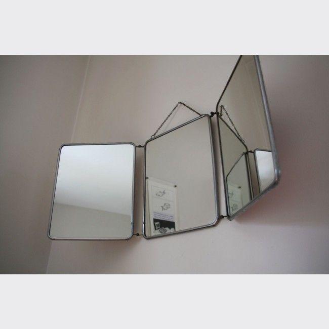 Très grand miroir barbier triptyque