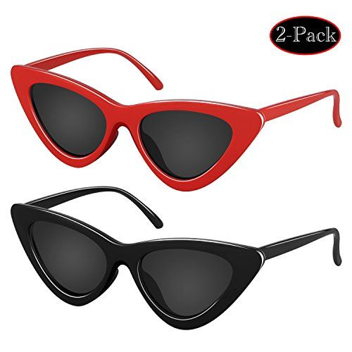 8964185b86 Elimoons Retro Vintage Narrow Cat Eye Sunglasses for Women Clout Goggles  Plastic Frame 2 Pack