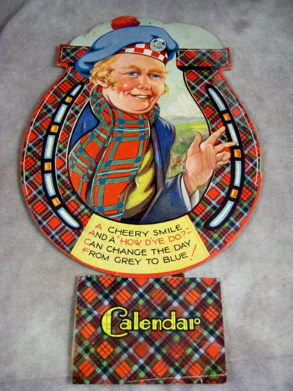 1940s Scottish Lad in Lucky Horseshoe Wall Hanging Calendar Complete with Tam o' Shanter Hat and Scottish Poem