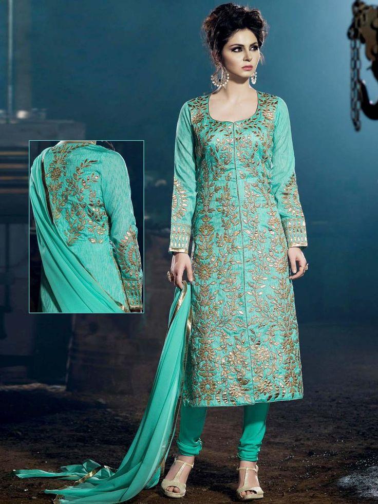 Fabulous sea green color khadi silk kameez glamorized with golden gota patti work. Item code: SLDH2253 http://www.bharatplaza.com/new-arrivals/salwar-kameez.html