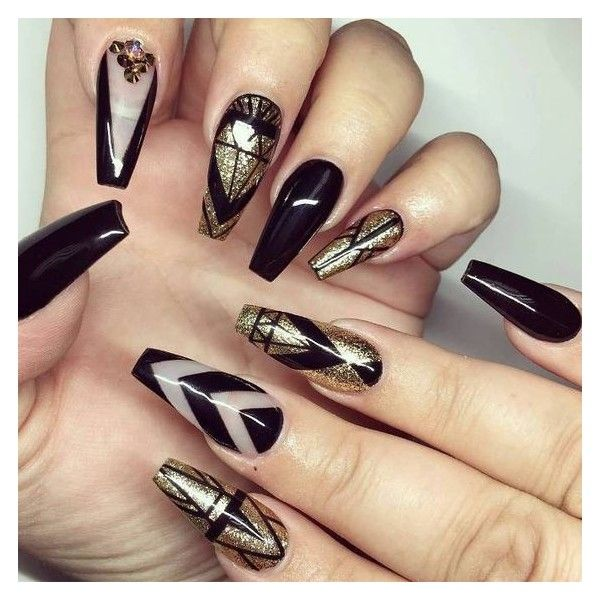 Glamorous Black and Gold Nail Designs Be Modish ❤ liked on Polyvore featuring beauty products, nail care, nail treatments and nails