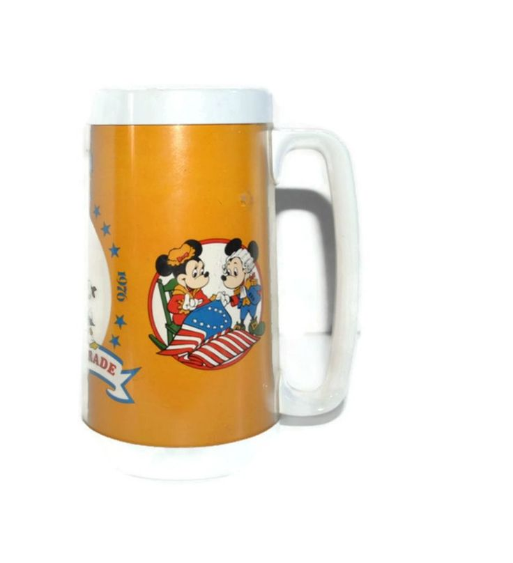 Vintage 1976 DISNEYLAND America On Parade Thermo Serv Insulated Mug w. Handle #ThermoServ