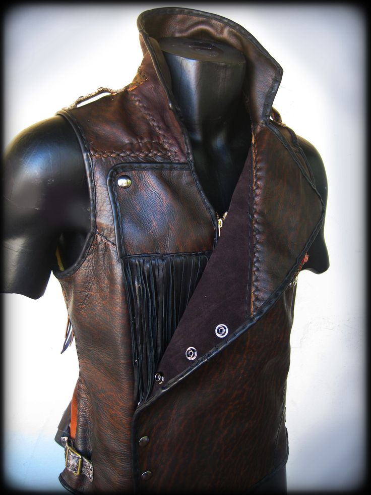 Leather Mens Vest Brown Leather Steampunk Style Geared
