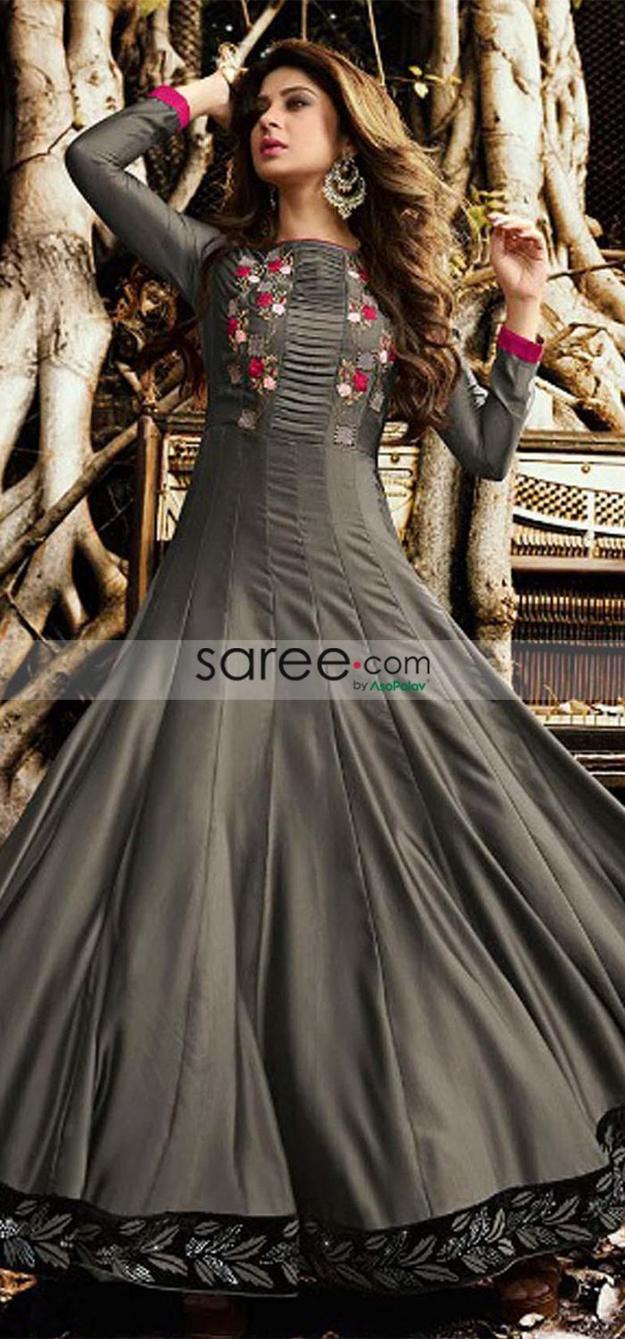 075cbb72868 Jennifer Winget Grey Satin Abaya Style Anarkali Suit With Embroidery in  2019