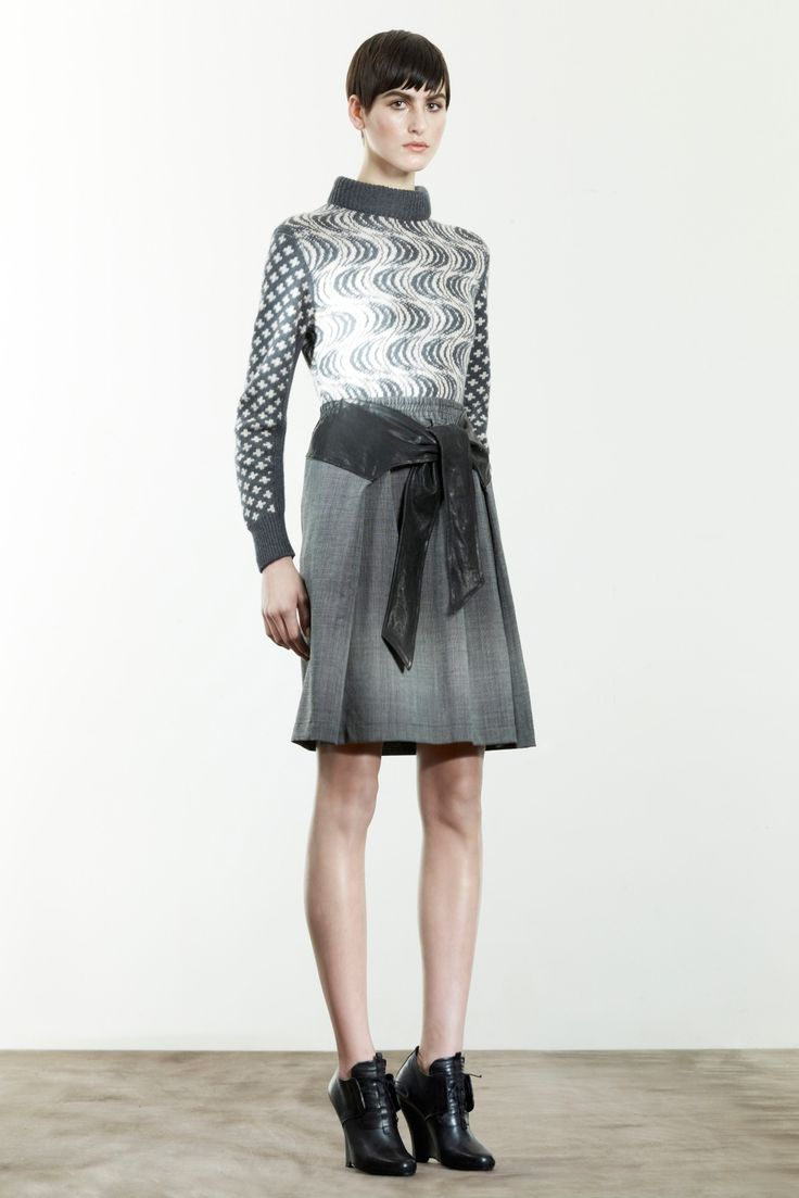 The combination of patterns of the jumper shows how two patterns can work together symbiotically on the one garment. The same colour tones mean that the garment is still coherent and wearable.  Damir Doma prefall 2013 Credit: style.com
