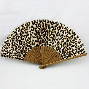 leopard fans | Chinese Leopard Spot Bamboo Folding Silk Hand Fan..