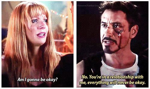 This is one of the best lines in Iron Man 3 because Tony knows that being in a relationship with Pepper puts her in harm's way, but he loves her enough to keep her safe above anyone else.  Maybe being in a relationship with Iron Man isn't so bad after all. ;)