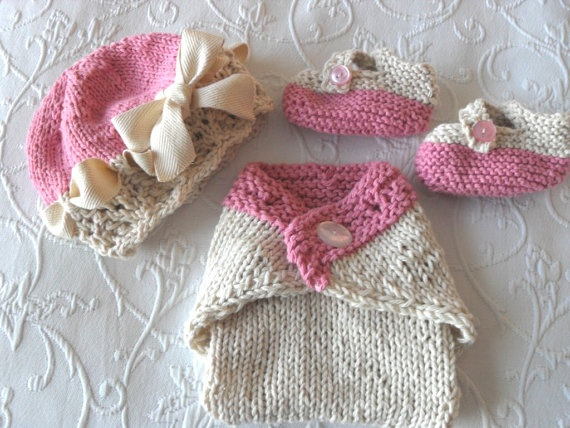 Knitted Baby Hat  Hand Knitted Baby HAT DIAPER by CottonPickings, $68.00