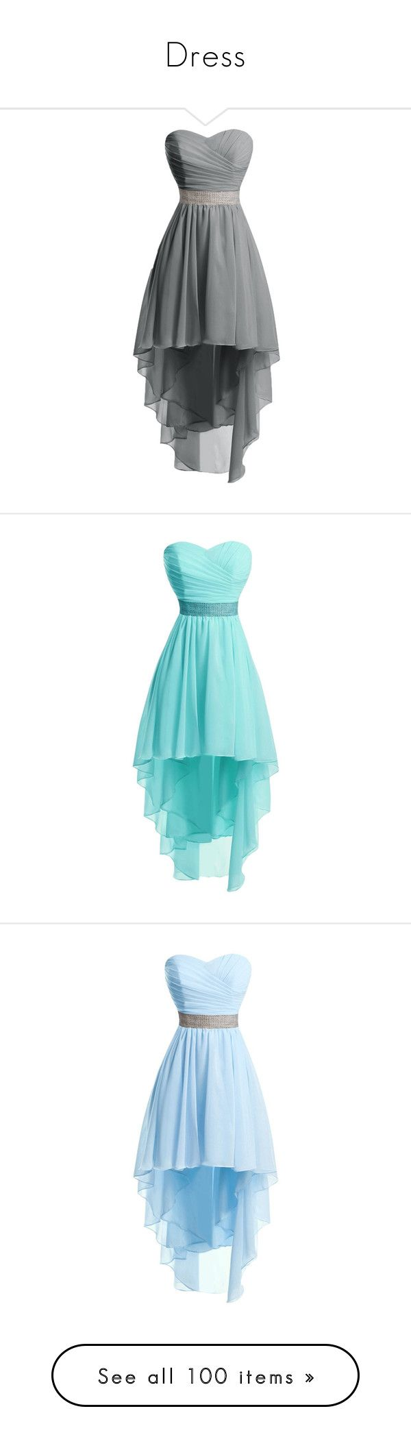 """""""Dress"""" by isaeva-nastya ❤ liked on Polyvore featuring dresses, grey, gray cocktail dress, homecoming dresses, high low dresses, hi lo dresses, hi low prom dresses, blue cocktail dresses, blue prom dresses and high low homecoming dresses"""