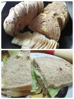 今日のお昼はドイツパン 焼きたてに鶏ハム挟んで(_) 美味しかったー tags[福岡県]