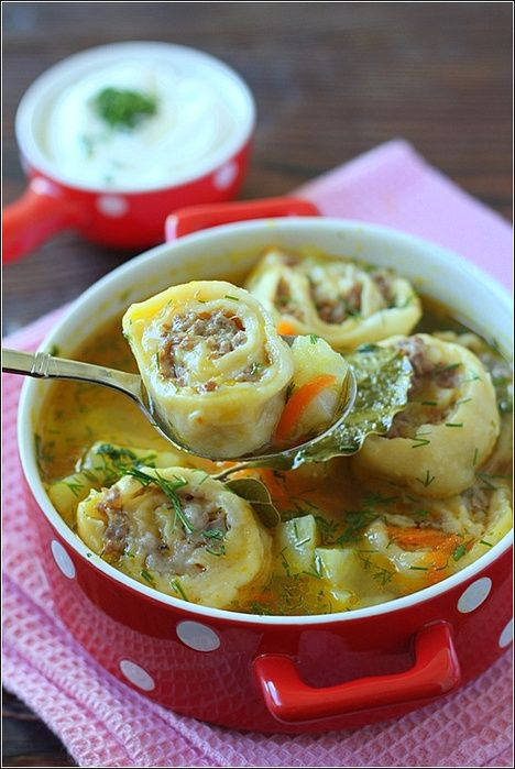 "Russian potato soup with ""lazy"" dumplings (lazy refers to the rolled dough with meat, i.e. not neatly stuffed dumplings, which could be quite time-consuming) Картофельный суп с ленивыми пельменями."