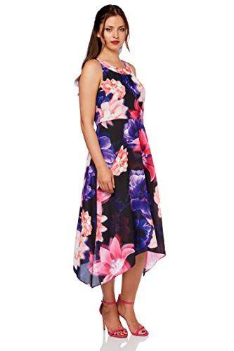 e0429a1b05b6 Roman Originals Women's Floral Chiffon Skater Dress - Ladies Elegant Hanky  Hem Summer Party Dresses - Multi - Size 10