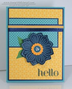 Bloom For You. Flowerpot dsp. daffodil ribbon layered on navy seam binding