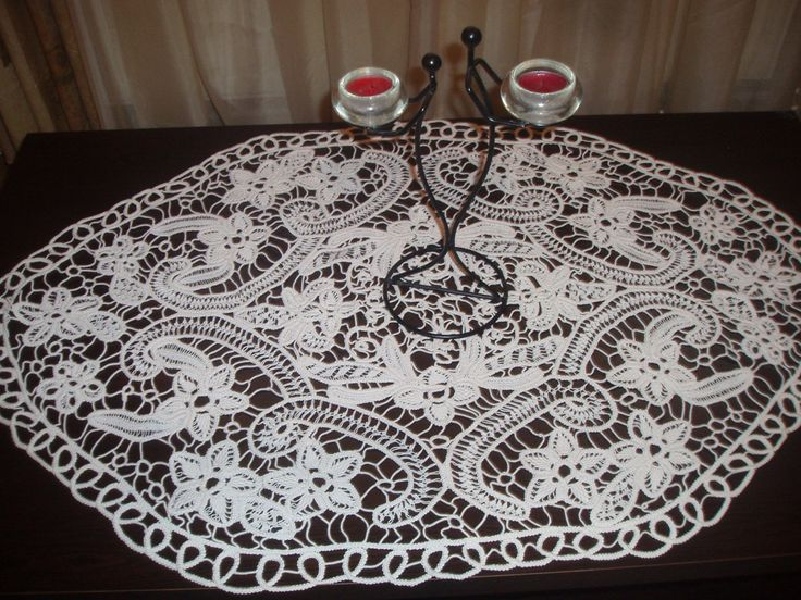 Romanian Point Lace ,Crochet Doily, Oval Tablecloth,White, Floral Pattern, crochet, wedding gift, home decor by elizal73 on Etsy