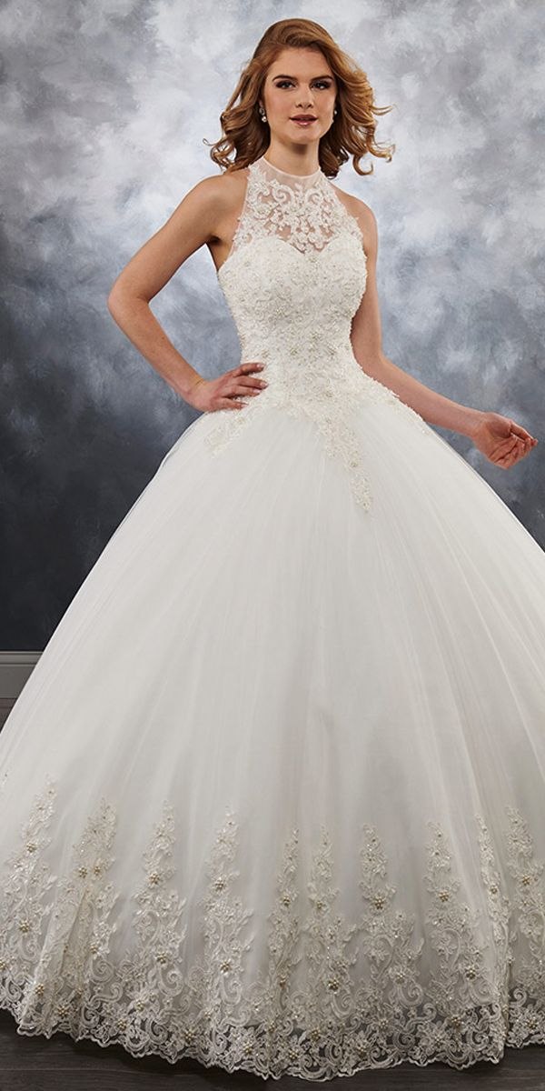 Fascinating Tulle Illusion High Collar Ball Gown Wedding Dress