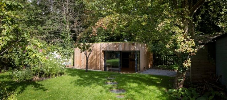 This stunning garden office with bike shed was built for a freelance photographer who required office space plus ample storage for all his kit.