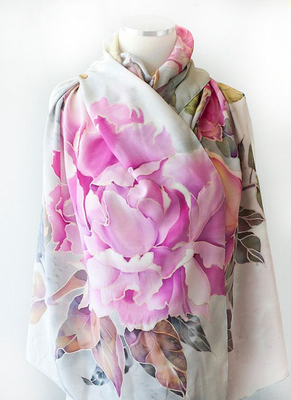 Hand Painted Silk Scarf Silk Shawl Peonies with Bird by SilkWonder
