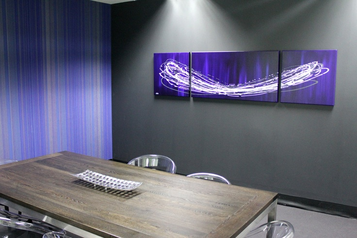 The walls match the art #thatsnoaccident #custom #abstract #art  One happy boardroom
