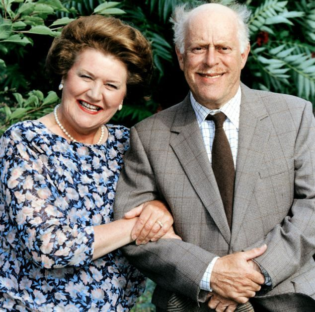 Patricia Routledge as Hyacinth Bucket and Clive Swift as Richard in Keeping Up Appearances | oh, my nan and I did like this show :)