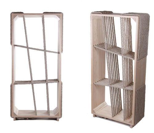 Experimental Hybrid Textile Furniture by Kata Mónus - rope / wood bookshelf