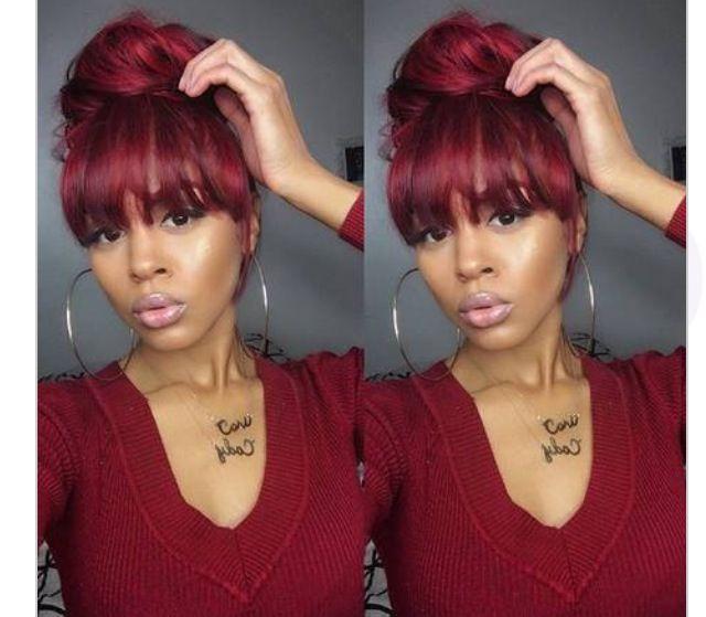 Burgundy bun and bangs | Hairstyles | Hair, Curly hair ...