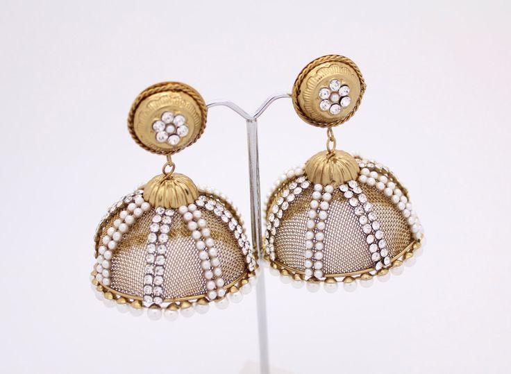 Stunning Lightweight Kundan Diamante Stone Pearl Jhumka Jhumki Drop Dangle Polki Vintage Indian Chandelier Earrings Bollywood Earrings (N3) by Glimour on Etsy https://www.etsy.com/listing/236177496/stunning-lightweight-kundan-diamante