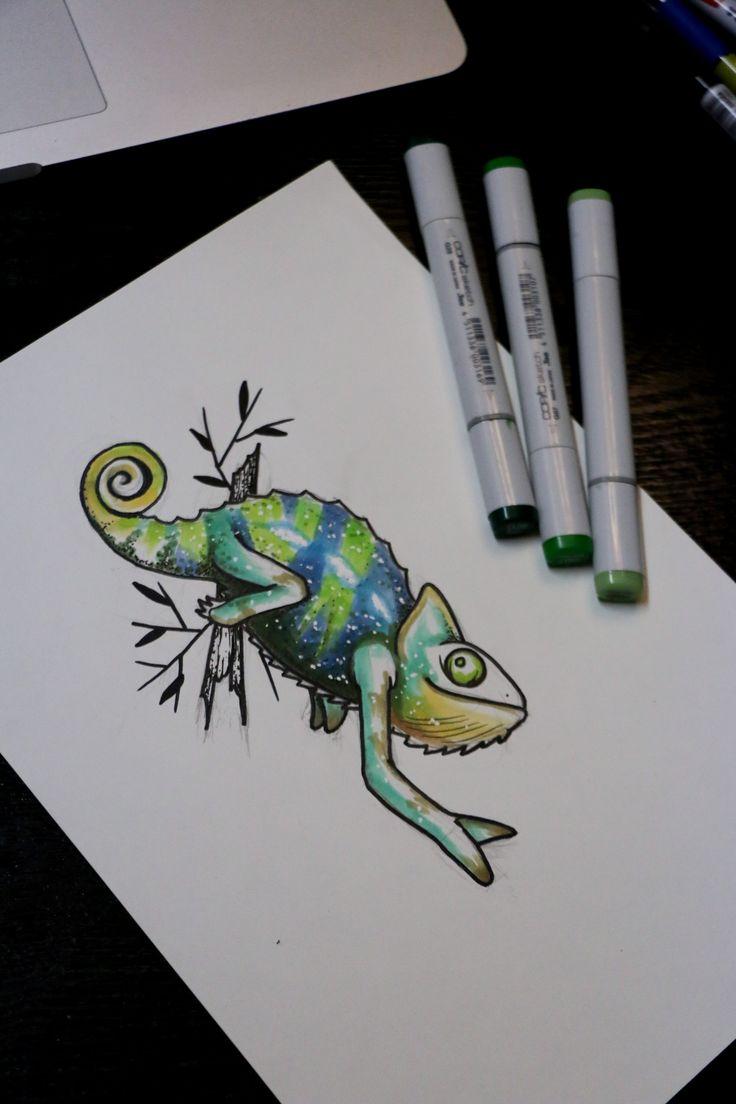 Chameleon tattoo design | My Illustration of tattoo design ...