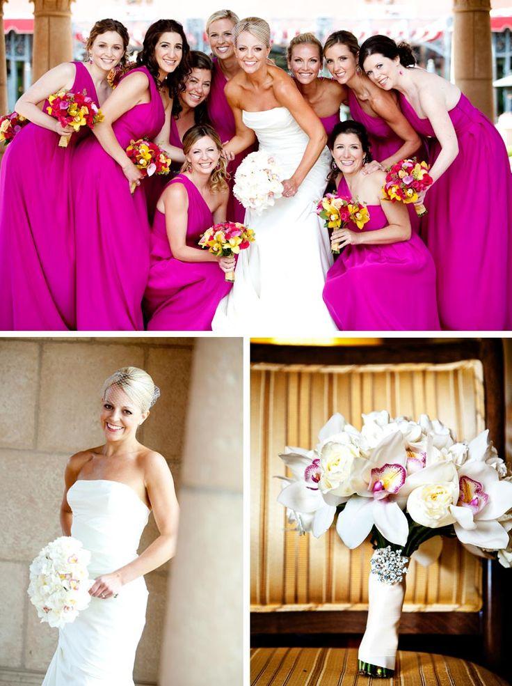 Magenta bridesmaid dresses from Exquisite Weddings