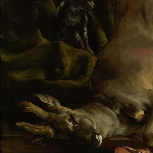 Een hond en een kat bij een half geslachte ree, Jan Baptist Weenix, 1645 - 1660 - Search - Rijksmuseum