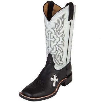 Women's Black & White Cross Tony Lama Boot Company Cowgirl Boots