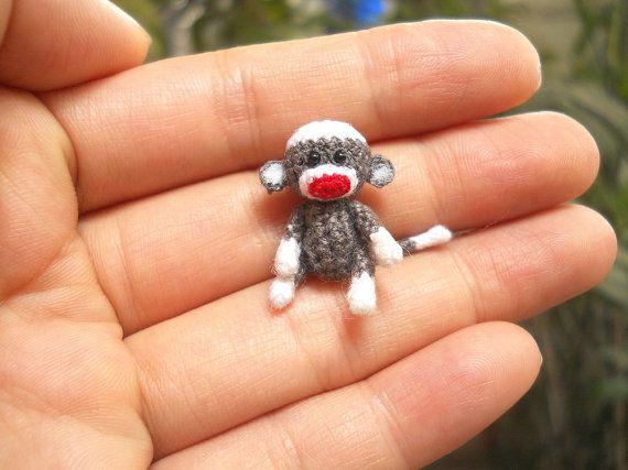 Tiny Sock Monkey 1 inch - Micro Amigurumi Crochet Miniature Sock Monkey Stuff Animal - Made To Order on Etsy, $28.00