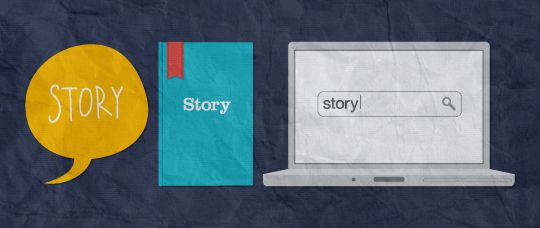 Illustrations of the word 'story'.