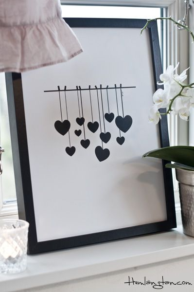 hearts by Hemlängtan - simple and sooo effective. hanging hearts! Great mothers day art work!