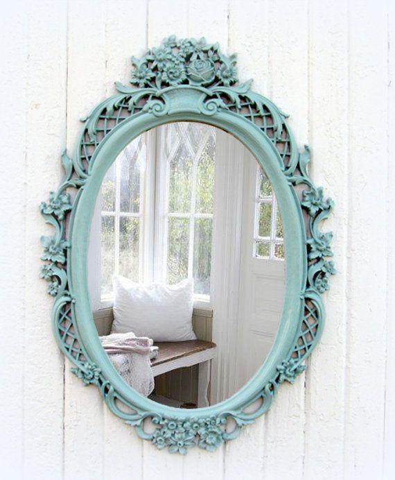Vintage Mint Oval Mirror Shabby Chic Beach by smallVintageAffair, $169.00