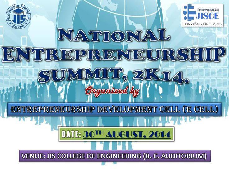 To encourage entrepreneurship endeavors among students, the Entrepreneurship Development Cell (E Cell) of JIS College of Engineering (JISCE) will organize the National Entrepreneurship Summit, 2014, on August 30 at 10 am. The summit to be held at the B. C. Roy Auditorium of JISCE will feature noted speakers and established entrepreneurs from various walks of life. For more info call Ranajay, Mobile : +91 9804652019, Niladrit, Mobile : +91 9046213859, Dipesu, Mobile : +91 9433514024