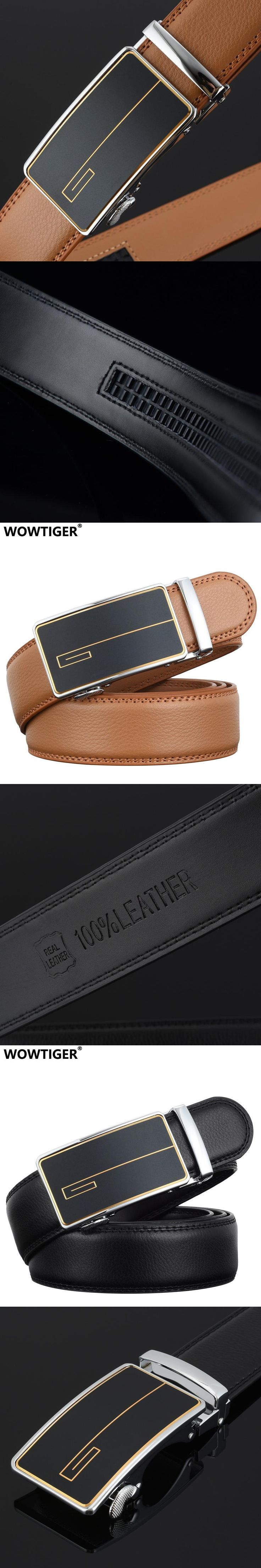 WOWTIGER Designer New Automatic buckle Belts for Men Sliding Buckle Ratchet Luxury fashion Leather Men Belt ceinture homme