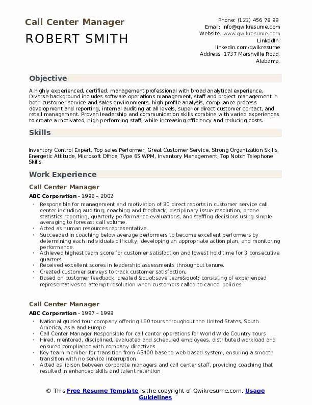 Call Center Resume Description Elegant Call Center Manager Resume Samples Manager Resume Job Cover Letter Software Development Life Cycle