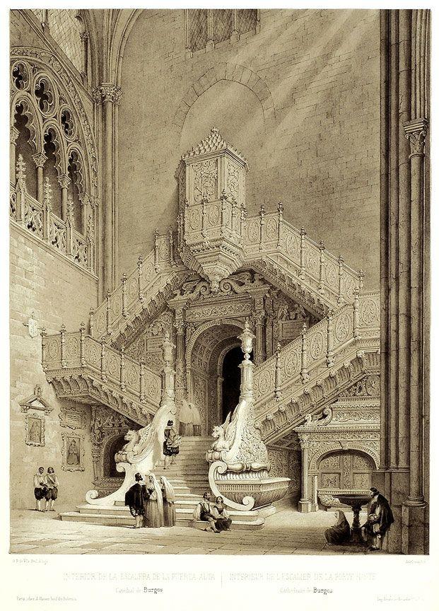G. P. de Villa-Amil - The Golden Staircase or La Escalera Dorada (Burgos), 1844.