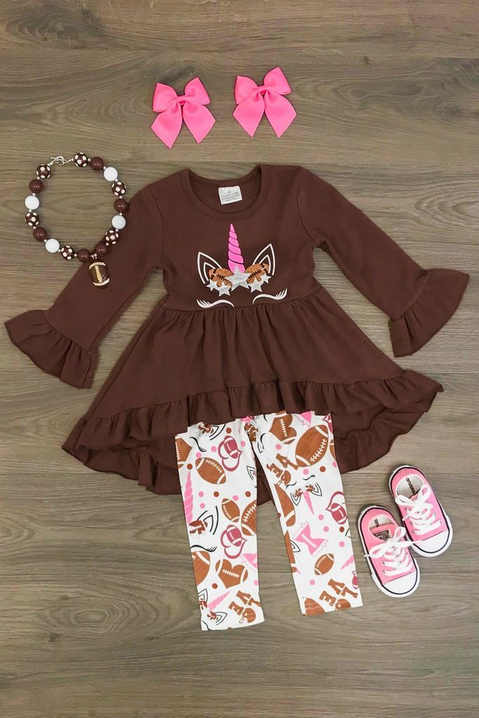 cc0e192217ee1 Brown Football Unicorn Hi Low Boutique Outfit | Sparkle in pink ...
