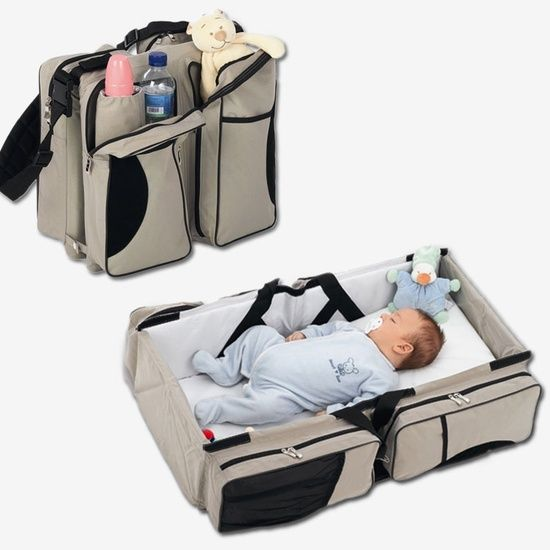 Holy crap this is genius! A changing table or crib anywhere you need one!                                                                                                                                                      More