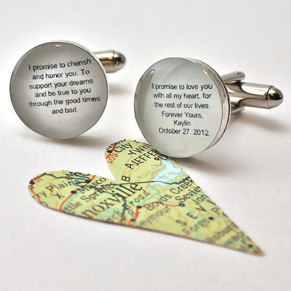Wedding Vows Cufflinks  Customizable for You and by dlkdesigns