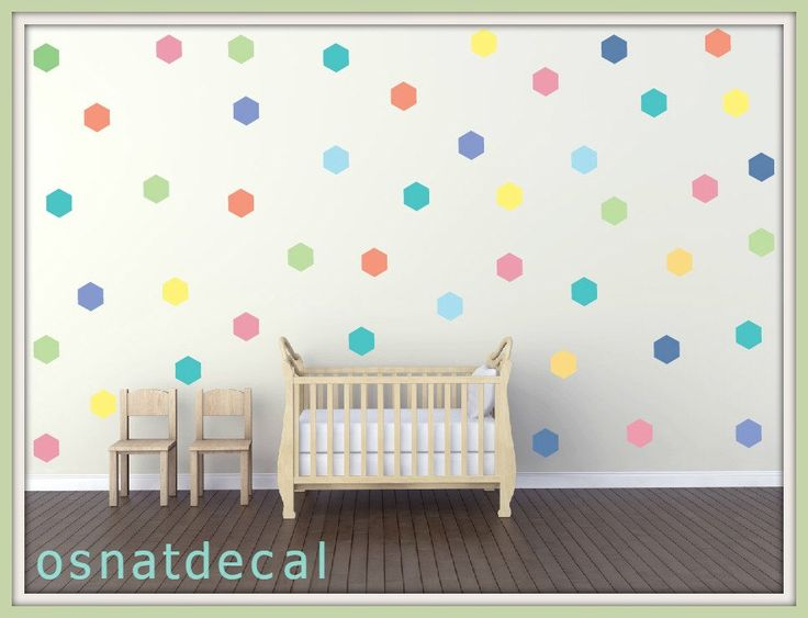 FREE SHIPPING Wall Decal Hexagon Pastel Colors . Each Kit 59 . Wall Sicker,  Wall Part 59